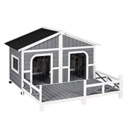 PawHut Wooden Double Dog House for Two Dogs with Spacious Deck