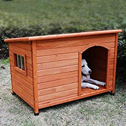 ROCKEVER Insulated Wooden Dog House for Outdoors