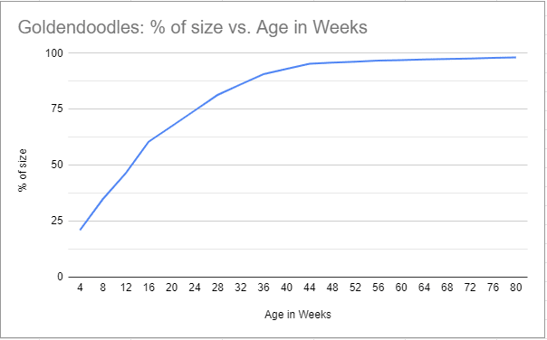 Goldendoodle size vs. age in weeks