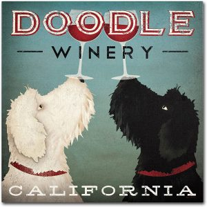 Doodle Wine Canvas Wall Art
