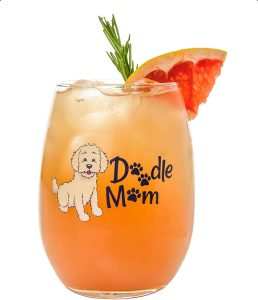 Drinking Divas Doodle Mom Stemless Wine Glass