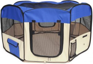 Pawaboo Indoor Dog Playpen with Floor, Portable and Foldable