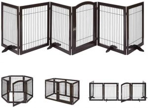 Unipaws Pet Playpen with Wood and Wire