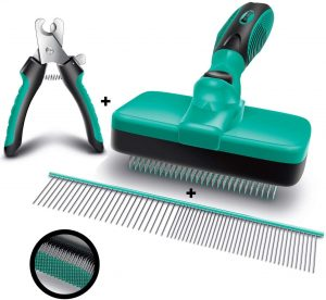Ruff' N Ruffus Self-Cleaning Slicker Brush + FREE Pet Nail Clippers + FREE 7.5