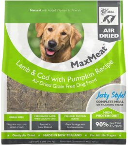 Only Natural Pet MaxMeat Holistic Grain-Free Air Dried Dry Dog Food - Made with Real Meat - Lamb & Cod with Pumpkin & Parsley 7.5 lb. .99