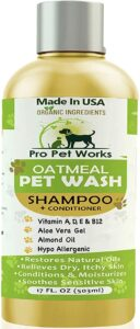 Pro Pet Works All Natural Organic 5 in One Oatmeal Pet Shampoo + Conditioner-Soap Free Blend with Almond Oil for Allergies & Dry Sensitive Skin-17oz (P.H. Balanced for Cats & Dogs) .59