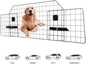 Adakiit Dog Barrier for SUV Car & Vehicles, Adjustable Pet Barrier Car Gate Universal Fit Wire Mesh Dog Car Guard - Car Divider for Dogs Pets SUVs .97