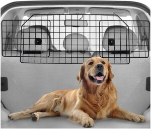 Rabbitgoo Dog Car Barrier for SUVs, Van, Vehicles - Adjustable Large Pet SUV Barriers Universal-Fit, Heavy-Duty Wire Mesh Dog Car Guard, SUV Pet Car Gate for Vehicles, Safety Car Divider for Dogs .98