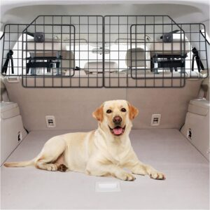 Vetoos Car SUV Dog Barrier, Vehicles Pet Divider Gate for Trunk Cargo Area - Extendable for Universal Fit, Foldable for Easy Storage, Straps & Bungee Cords for Double Stability, Rust-Proof Metal Mesh .99